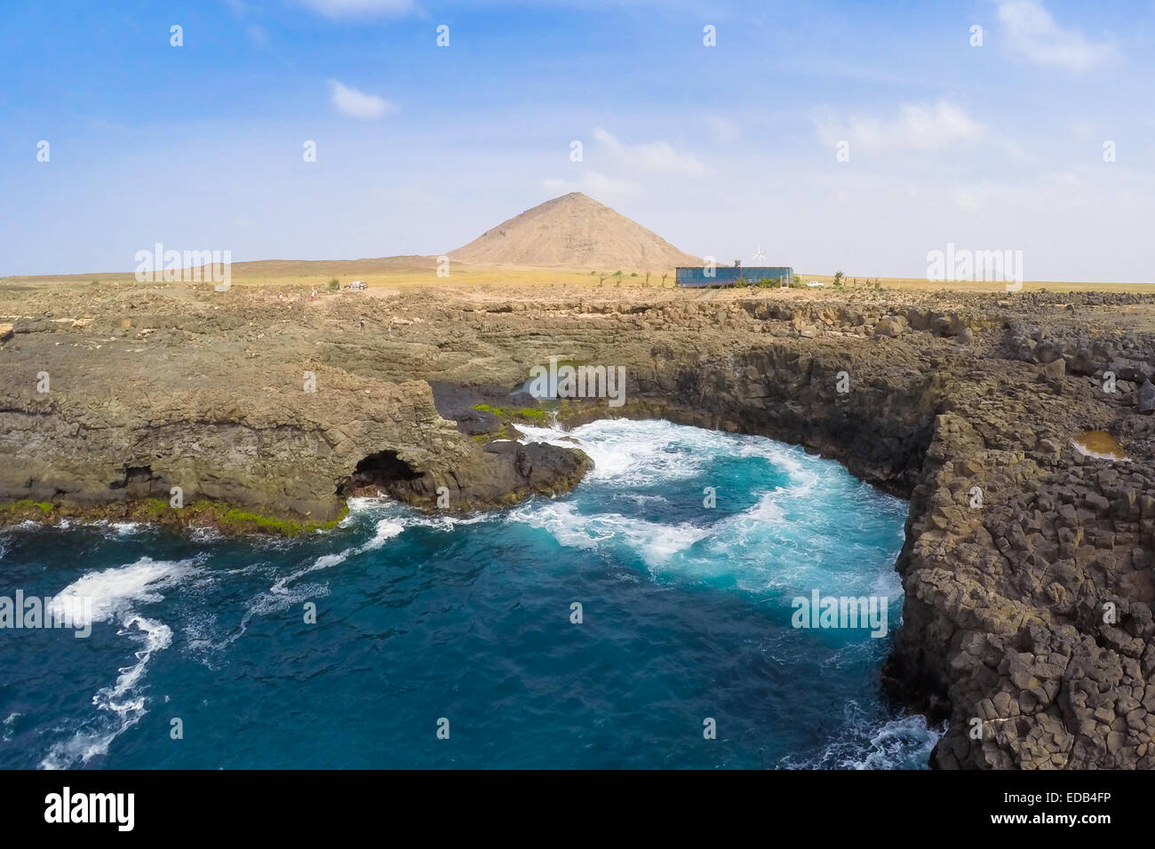 Aerial view of Buracona  in sal Island Cape Verde - Cabo Verde Stock Photo