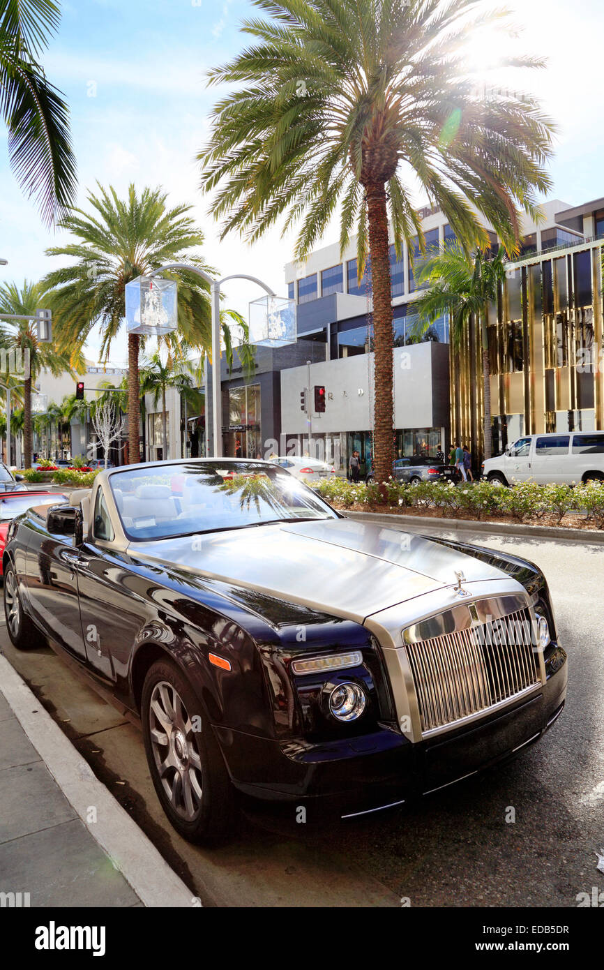 rolls royce parked on rodeo drive, beverly hills, los angeles stock