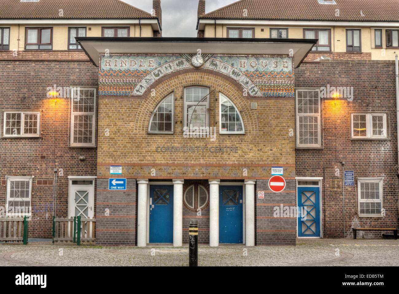 council Estate community centre  London   Hackney Community Centre - Stock Image