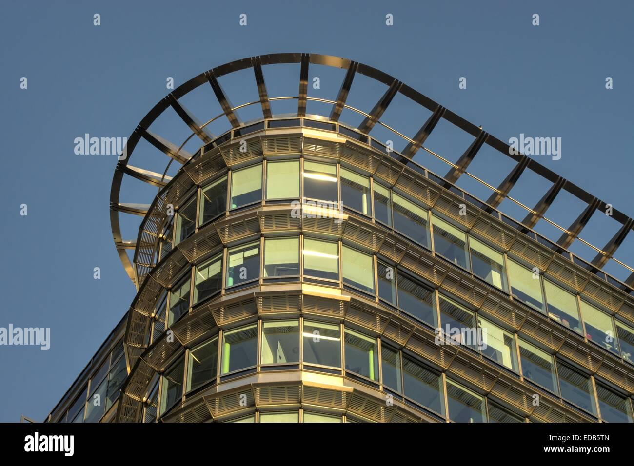 modern building docklands, London  building detail - Stock Image