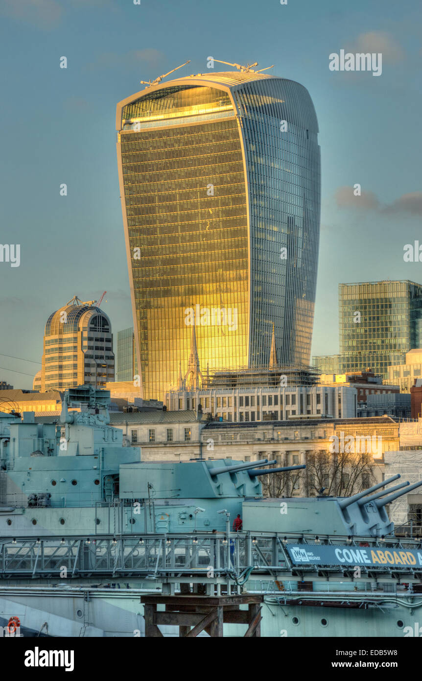 Walkie Talkie Tower London.  London Skyscraper Fenchurch Street. - Stock Image