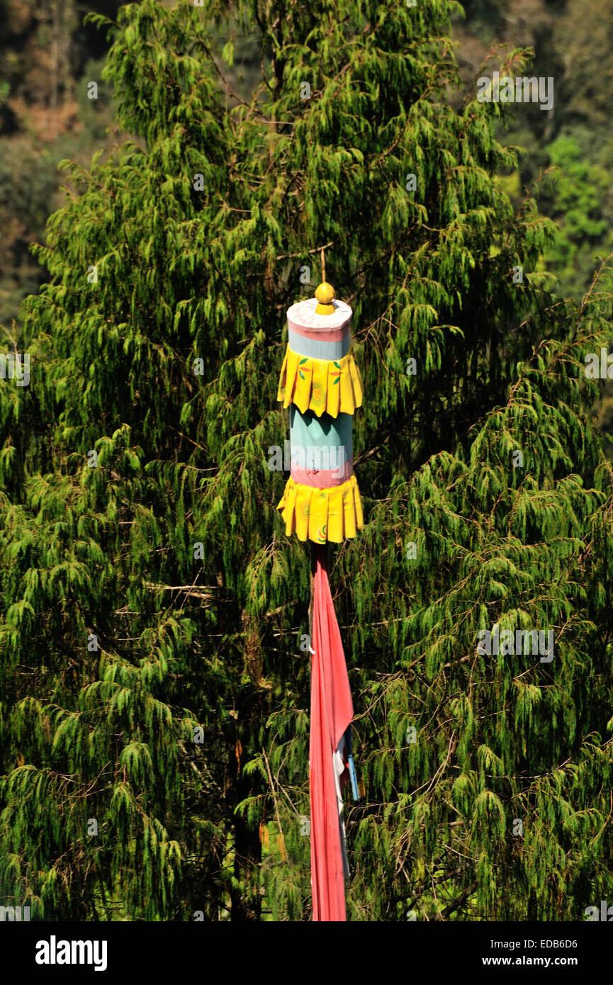Flagpole, Trongsa, Bhutan - Stock Image