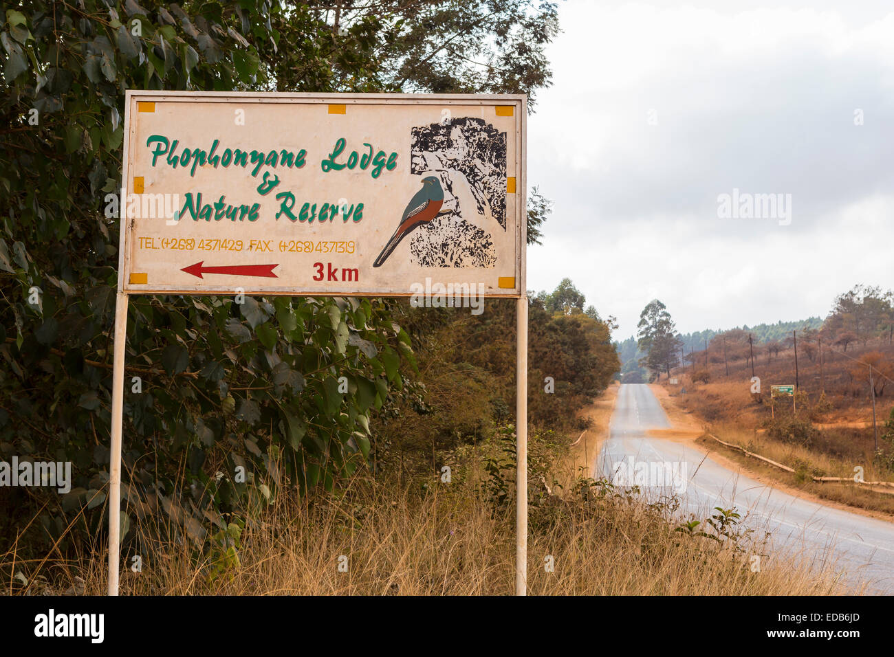 SWAZILAND, AFRICA - Sign for Phophonyane Nature Reserve. Stock Photo
