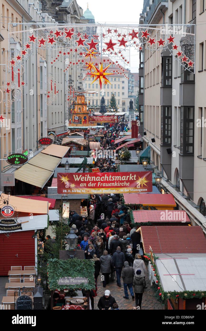 Christmas market in Dresden, Germany;  Weihnachtsmarkt 2014 in Dresden - Stock Image