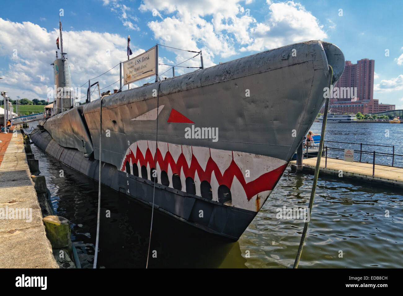 Low Angle View of a Submarine at a Pier, USS Torsk,Submarine Memorial, Inner Harbor, Baltimore, Maryland, USA - Stock Image