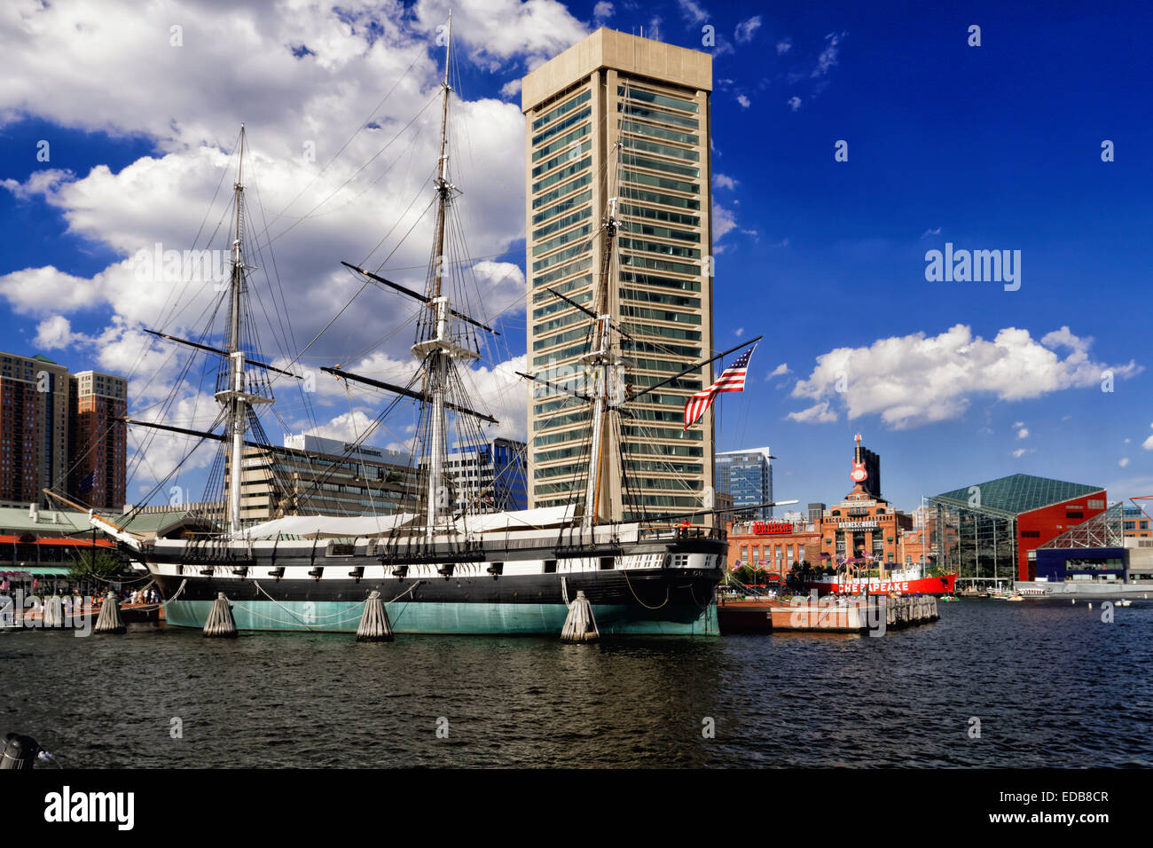 Low Angle View of the USS Constellation Historic Warship, Inner Harbor, Baltimore, Maryland - Stock Image
