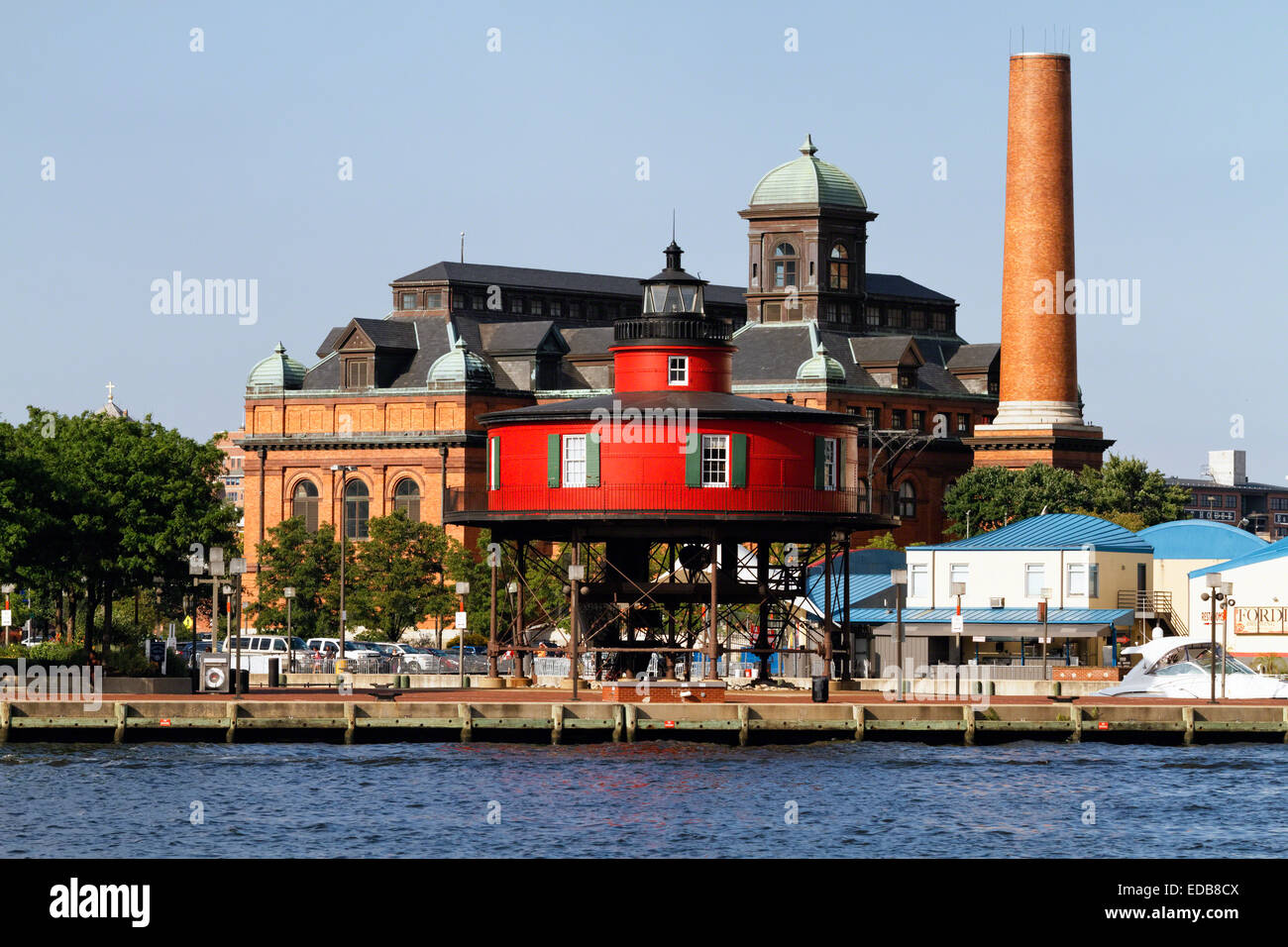 View of the Seven Foot Knoll Lighthouse , Inner Harbor, Baltimore, Maryland - Stock Image