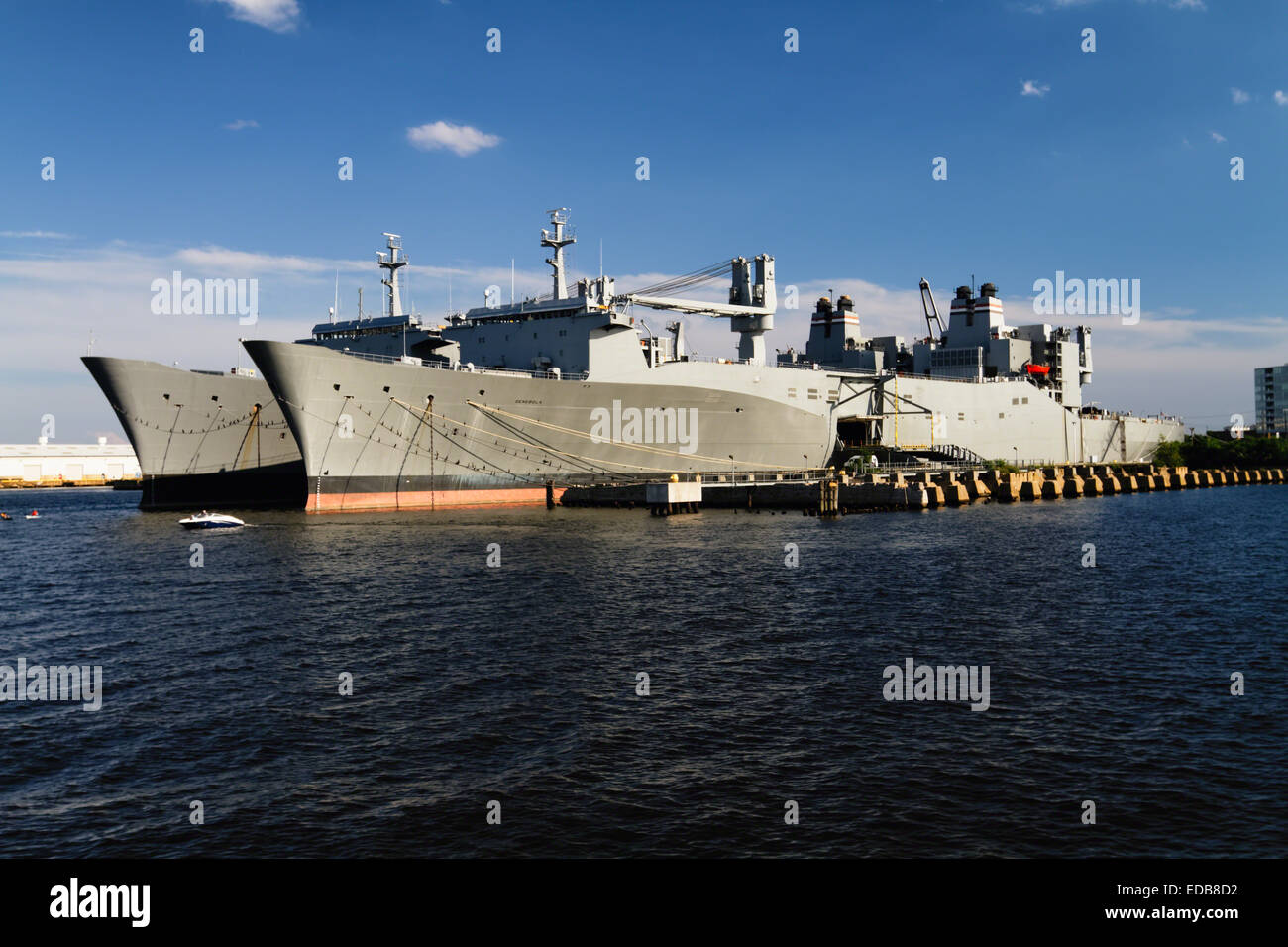 Two Algol Class Military Cargo Ships Anchored in Baltimore Harbor, Maryland - Stock Image