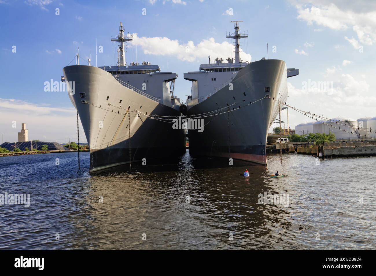 Frontal View of Two Algol Class Military Cargo Ships Anchored in Baltimore Harbor, Maryland - Stock Image