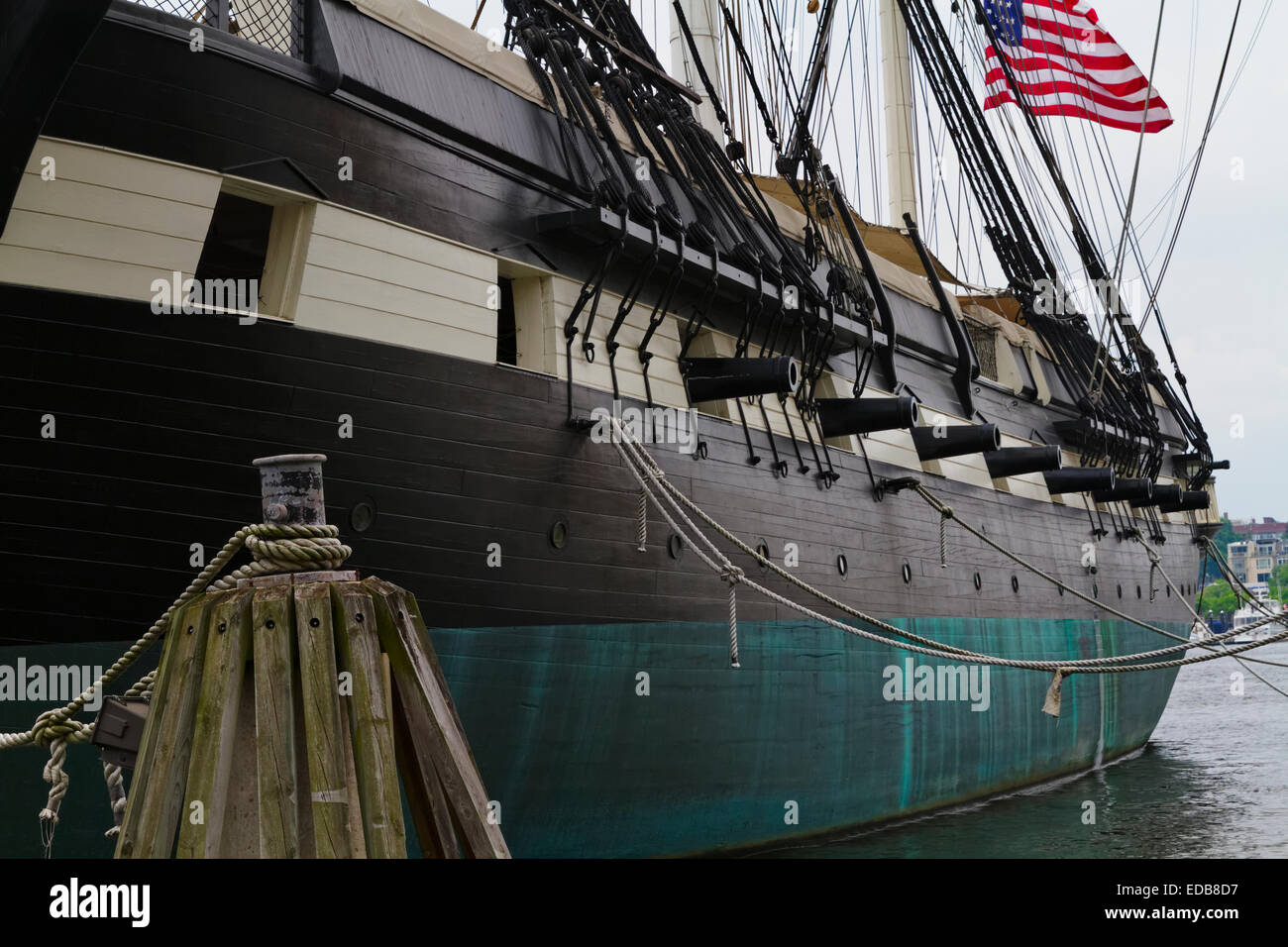 Port Side Close Up View of the USS Constellation Warship, Baltimore Harbor, Maryland - Stock Image
