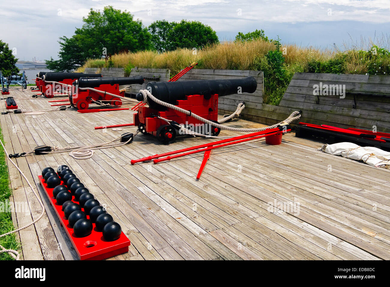 Row of Cannons on a Battery Ramp, Fort McHenry, Baltimore, Maryland - Stock Image