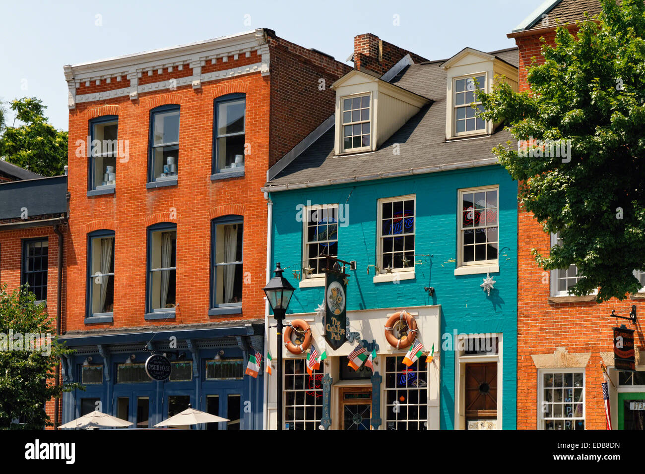 Colorful Houses and Pubs at Fell's Point, Baltimore, Maryland - Stock Image