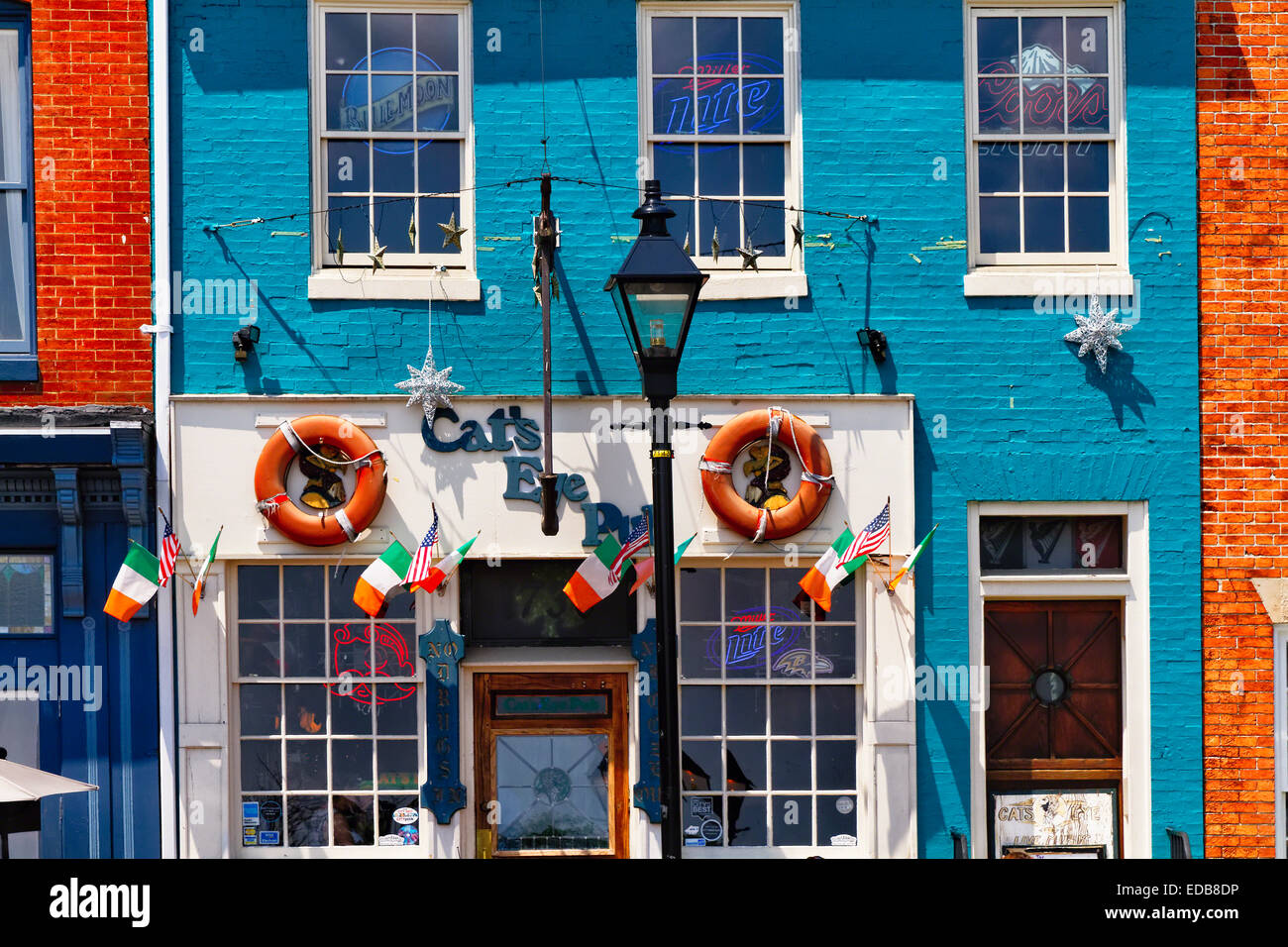 Colorful Pub Front at Fell's Point , Baltimore, Maryland - Stock Image