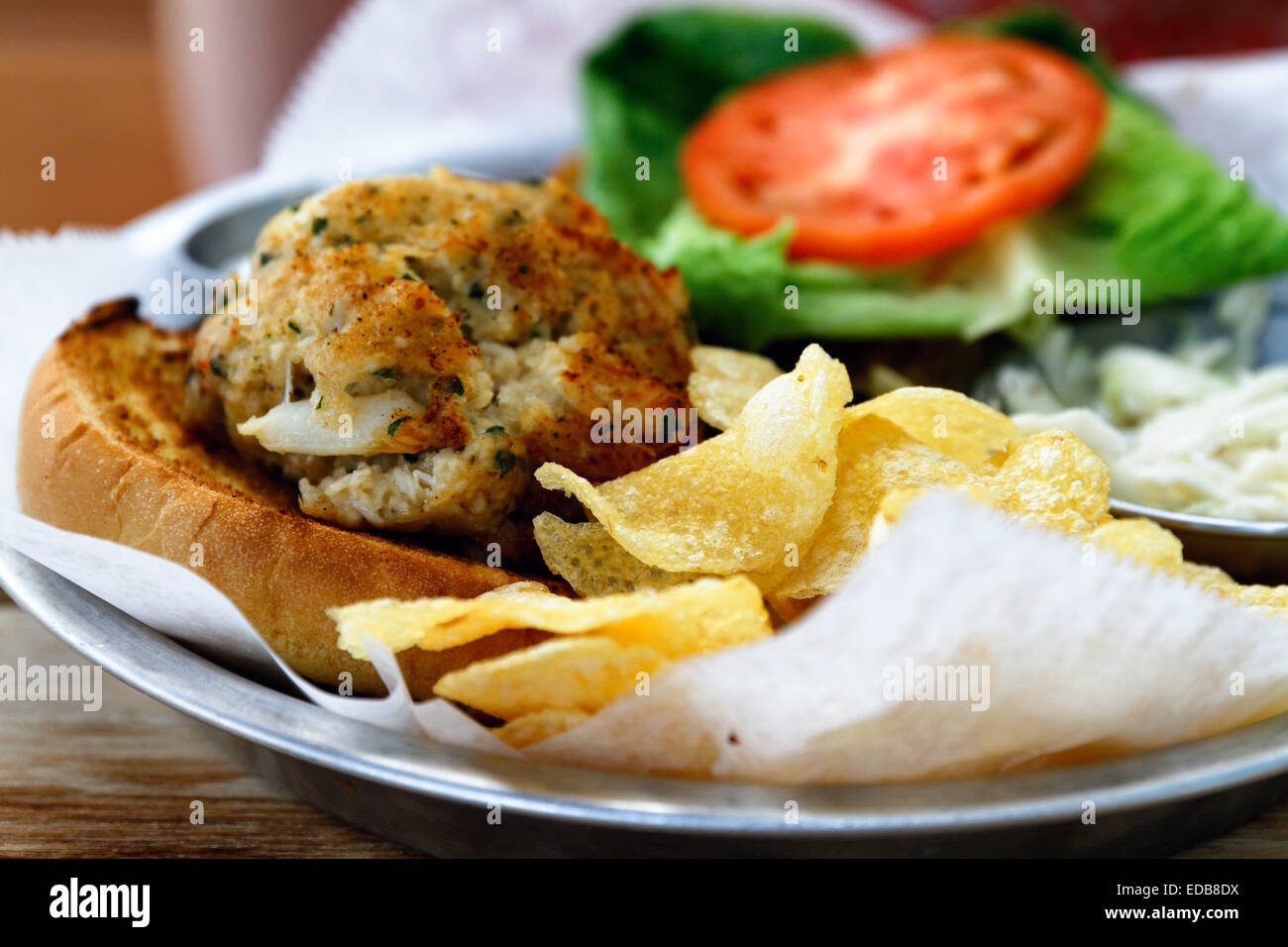 Close Up View of a Maryland Blue Crab Sandwich, Baltimore, Maryland - Stock Image