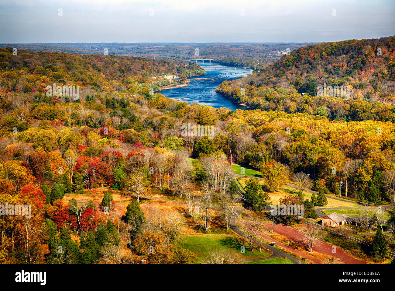 View of the Delaware River During Peak Fall Foliage with the New Hope-Lambertville Bridges, Bucks County, Pennsylvania - Stock Image