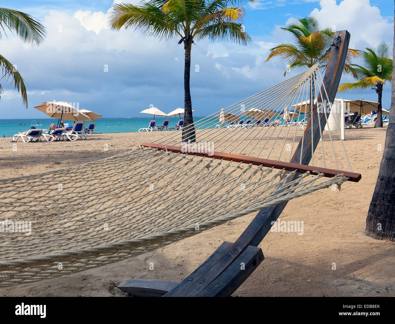 Close Up View of a Hammock on a Beach, Isla Verde, Puerto Rico - Stock Image