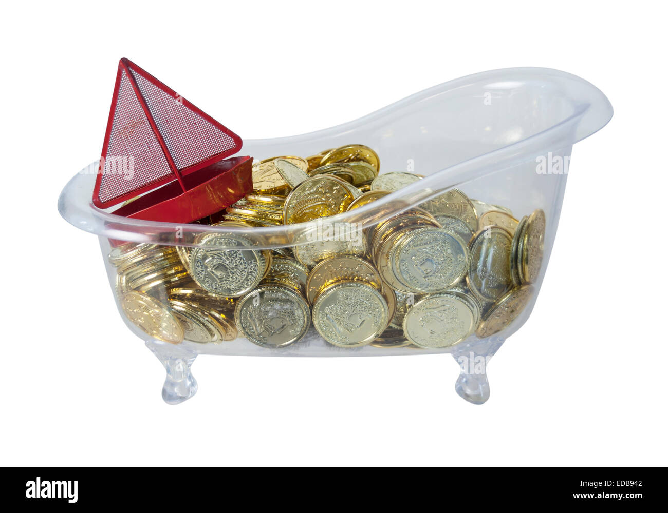 Bathtub Filled With Gold Coins Of Riches And A Red Boat   Path Included    Stock