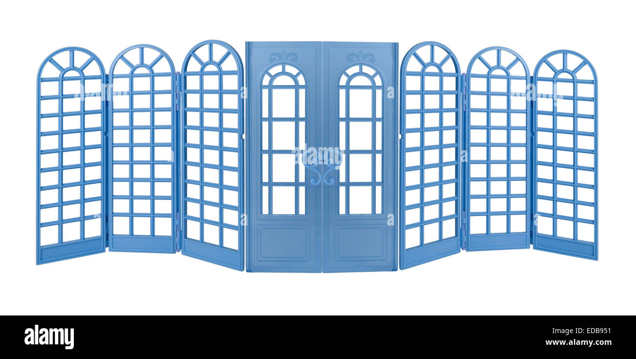 Blue Room Divider with curved tops and Doors - path included - Stock Image