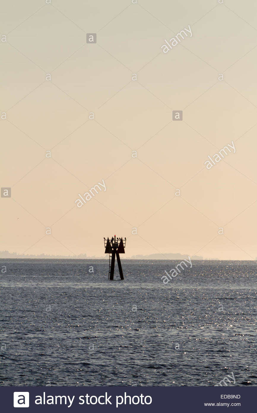 View of lifeguard tower in middle of sea - USA - Bellingham - Stock Image