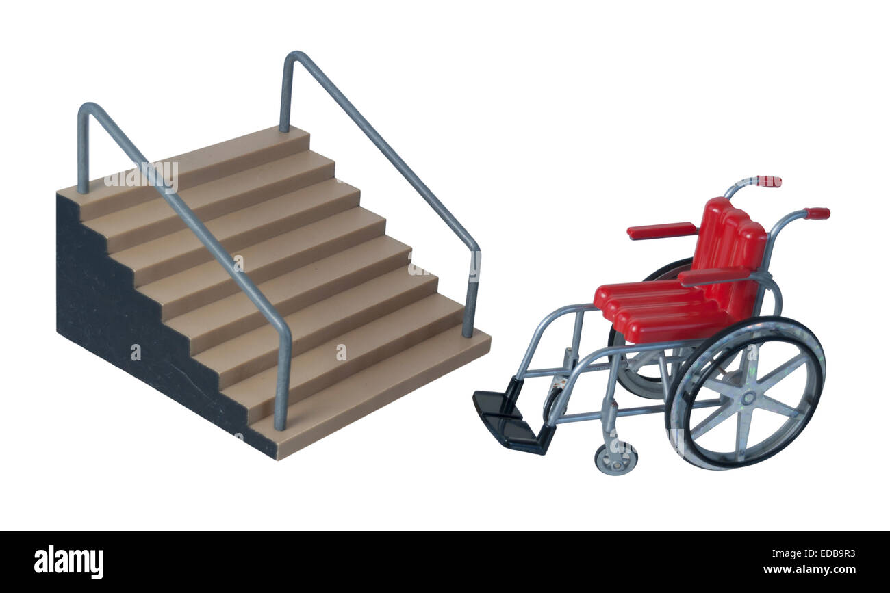 Wheelchair used for assistance in personal transportation when ambulatory methods are unavailable - path included - Stock Image