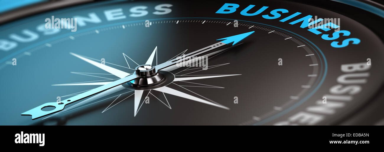 Conceptual compass with needle pointing the word business, black and blue tones. Concept background image for illustration - Stock Image