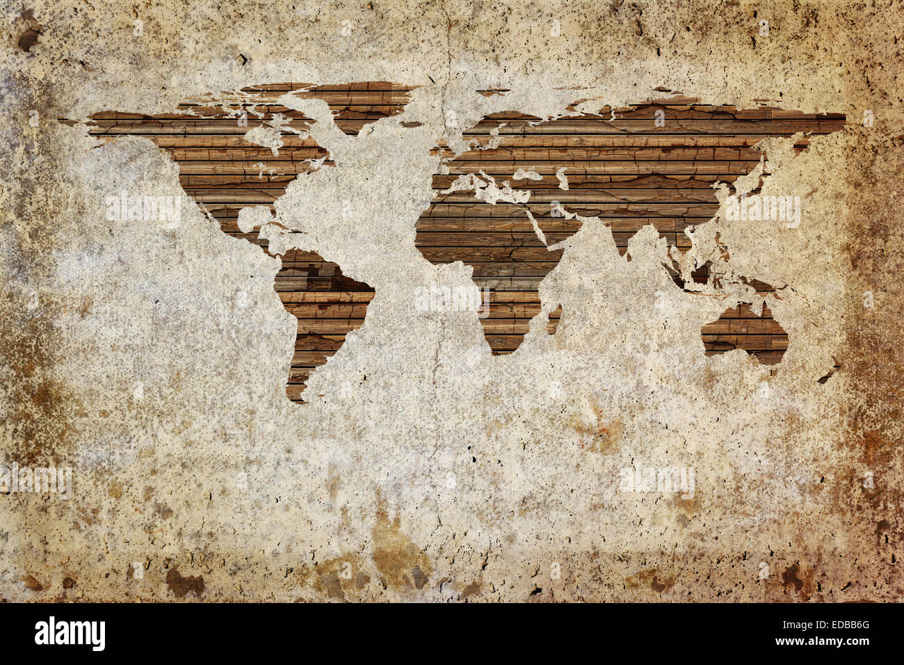 Grunge Vintage Wooden Plank World Map Background Stock Photo - Vintage world map on wood