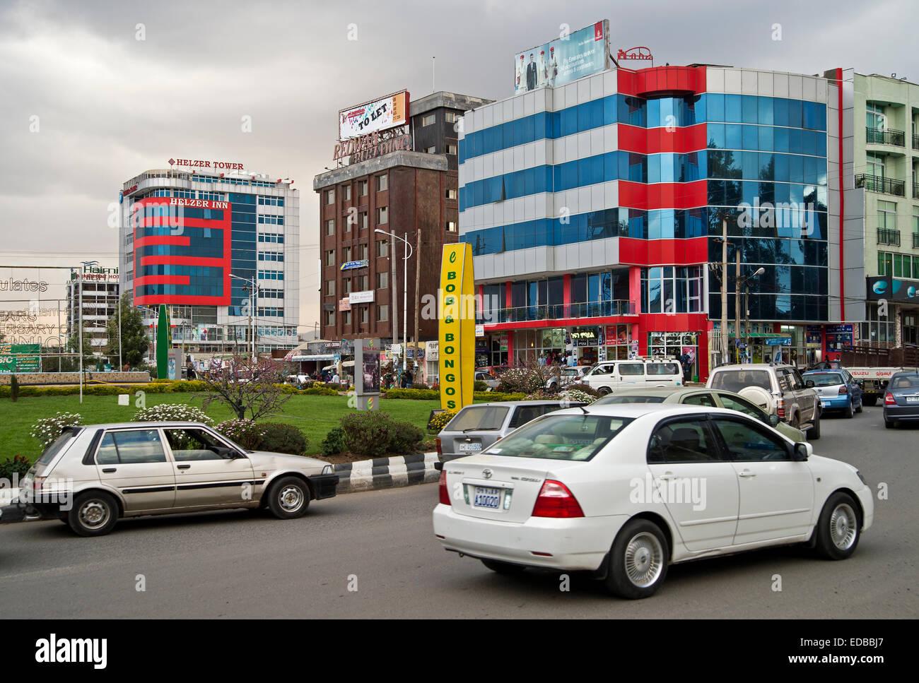 New buildings at Bole Medhane Alem Circle, Bole area, Addis Ababa, Ethiopia - Stock Image