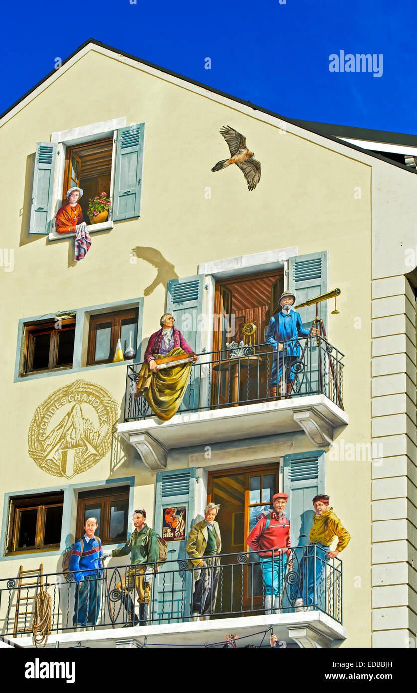 Trompe-l'œil fresco The guides of Chamonix, Les guides de Chamonix, by A-Fresco, Chamonix, Haute-Savoie, France - Stock Image