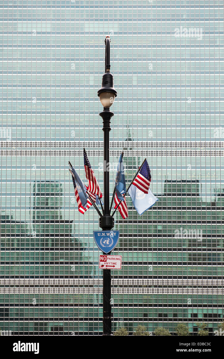 Flags in front of the UN building, Manhattan, New York, United States - Stock Image