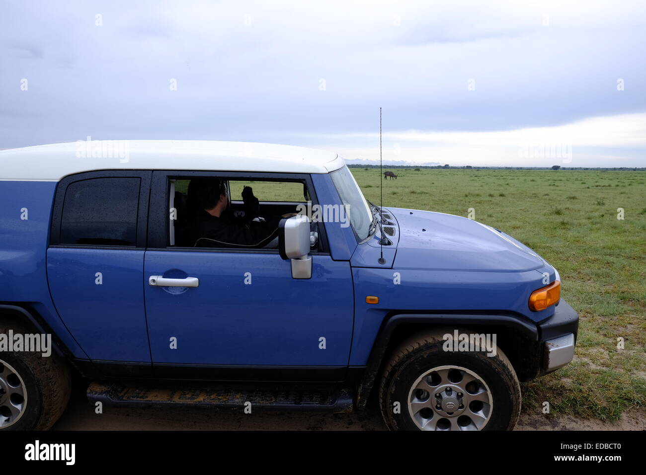 A modern 4 wheel drive on a game viewing drive in Central Kalahari Botswana . - Stock Image