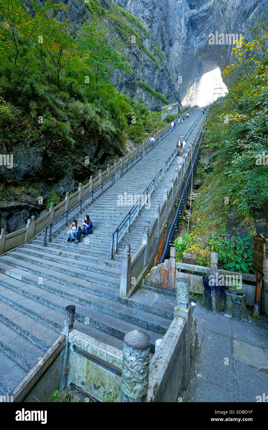 Steep staircase with 900 steps to Heaven's Gate, Tianmen Cave, the world's largest natural water eroded - Stock Image