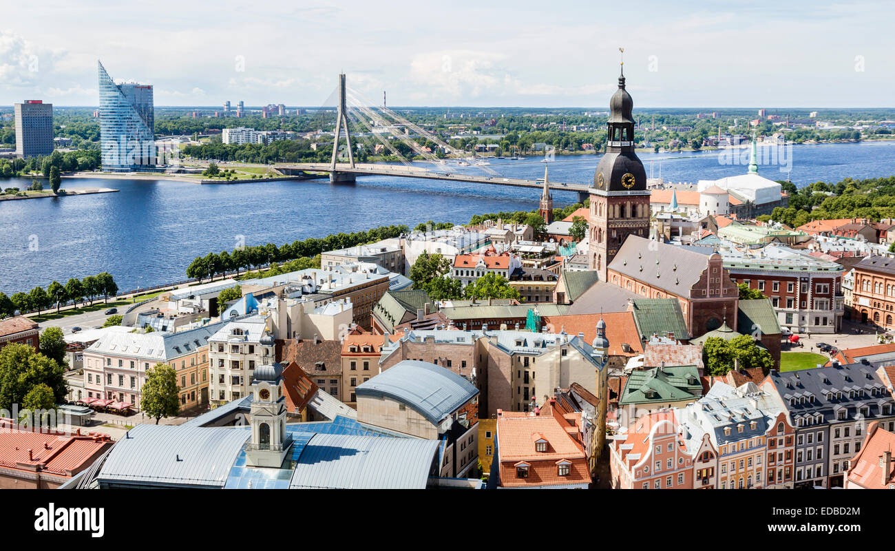 Historic centre with Riga Cathedral, Vanšu-Bridge and high-rise building of Swedbank and the Daugava river or Western - Stock Image