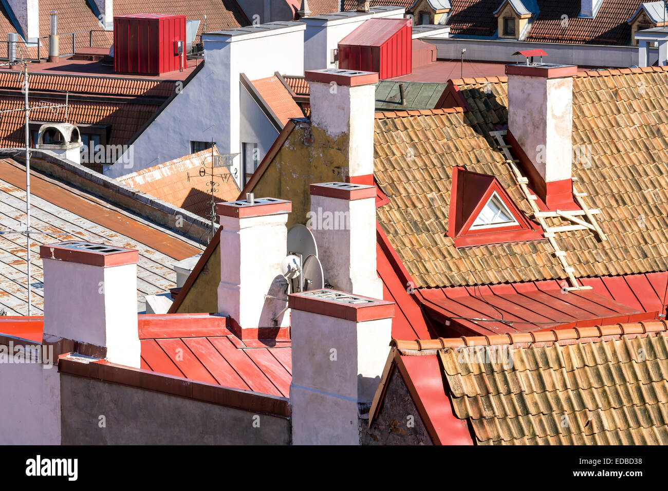 View on the roofs of the old town, Tallinn, Estonia - Stock Image