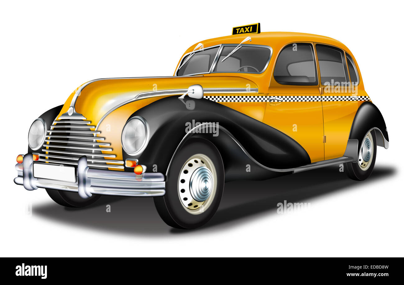 EMW Taxi, DDR vintage from the 50s, illustration - Stock Image