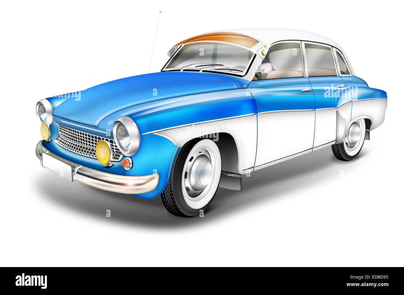 DDR vintage car from the 60s, Wartburg 311 blue and white, illustration - Stock Image