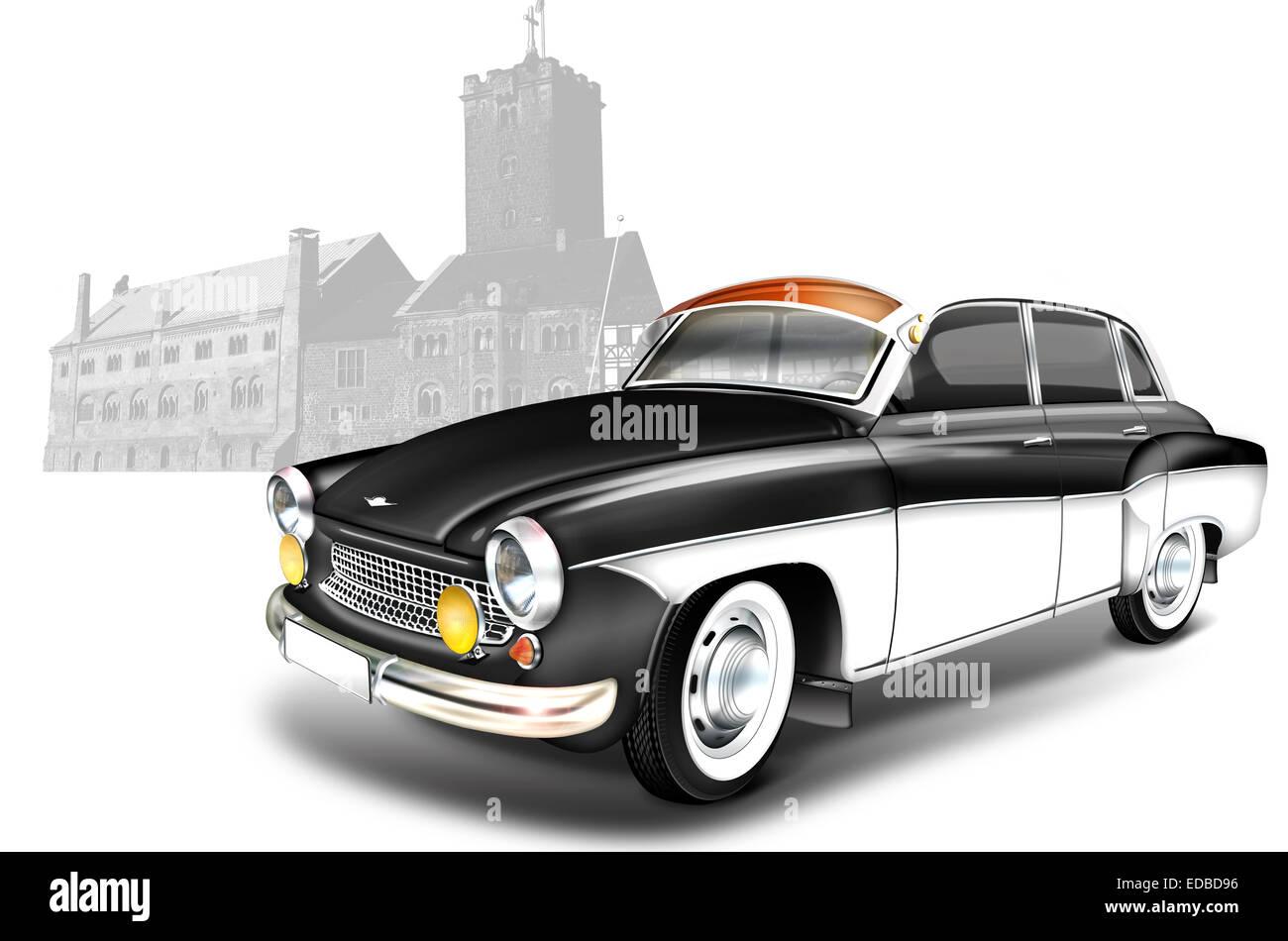 DDR vintage car from the 60s, Wartburg 311, Illustration - Stock Image