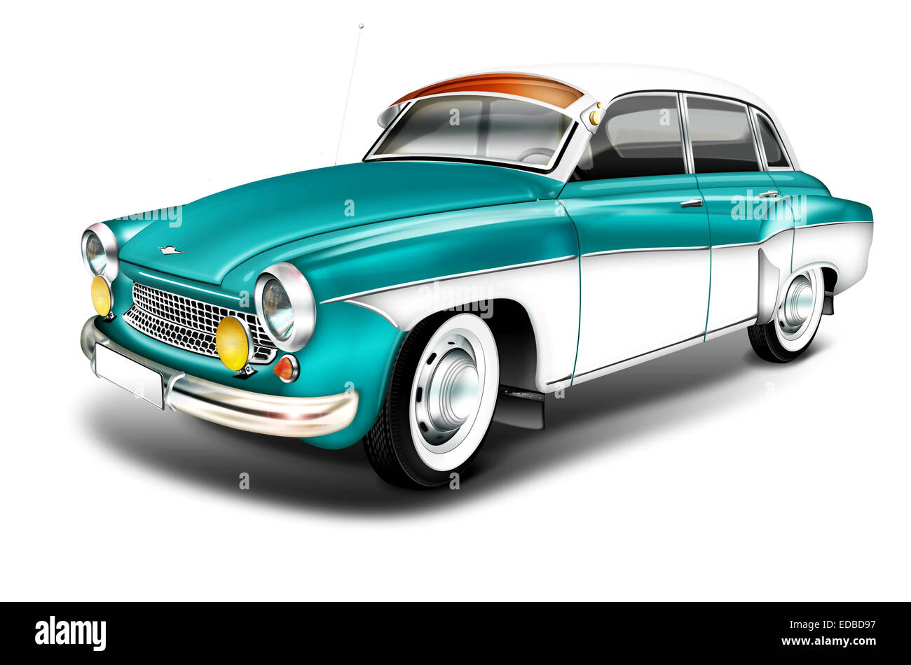 DDR vintage from the 60s, Wartburg 311, green-white, illustration - Stock Image