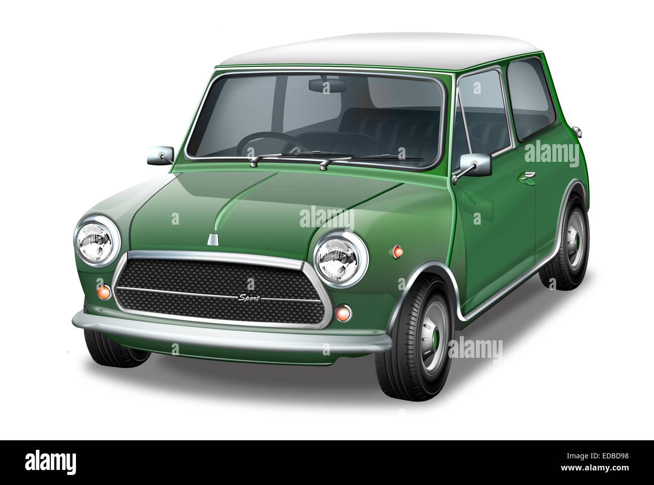 Mini Cooper, green English vintage car, illustration - Stock Image
