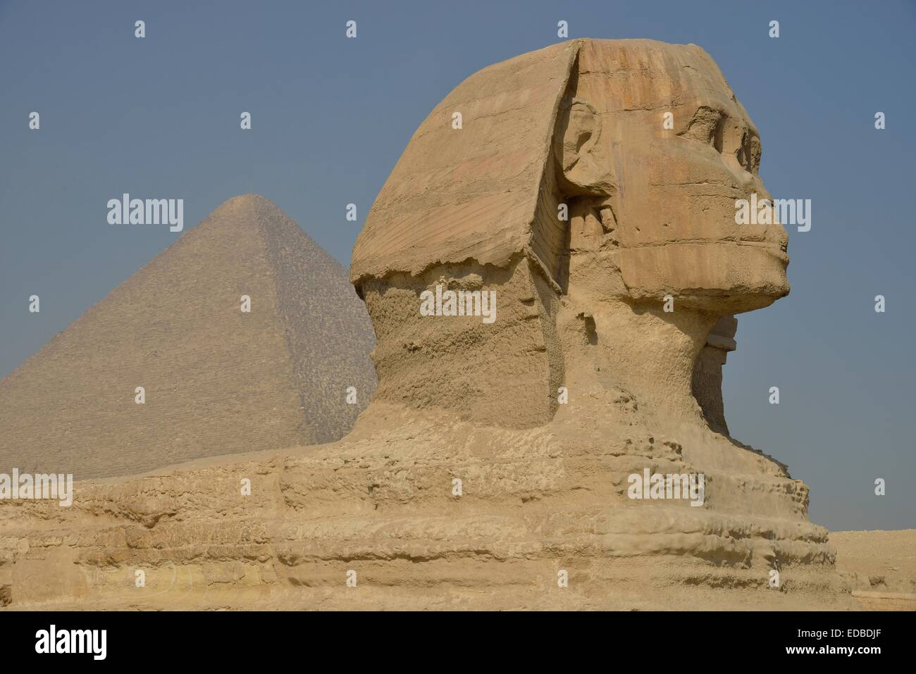 Sphinx or Great Sphinx of Giza, lion with a human head, built in the 4th Egyptian dynasty around 2700 BC, in front - Stock Image