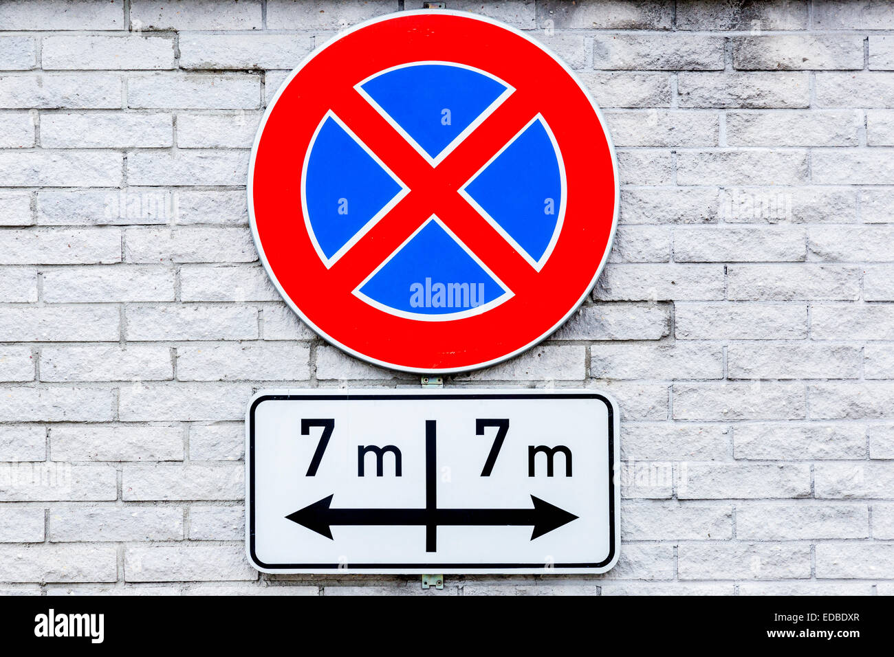 No stopping sign, seven meters to the right and the left, Riga, Latvia - Stock Image