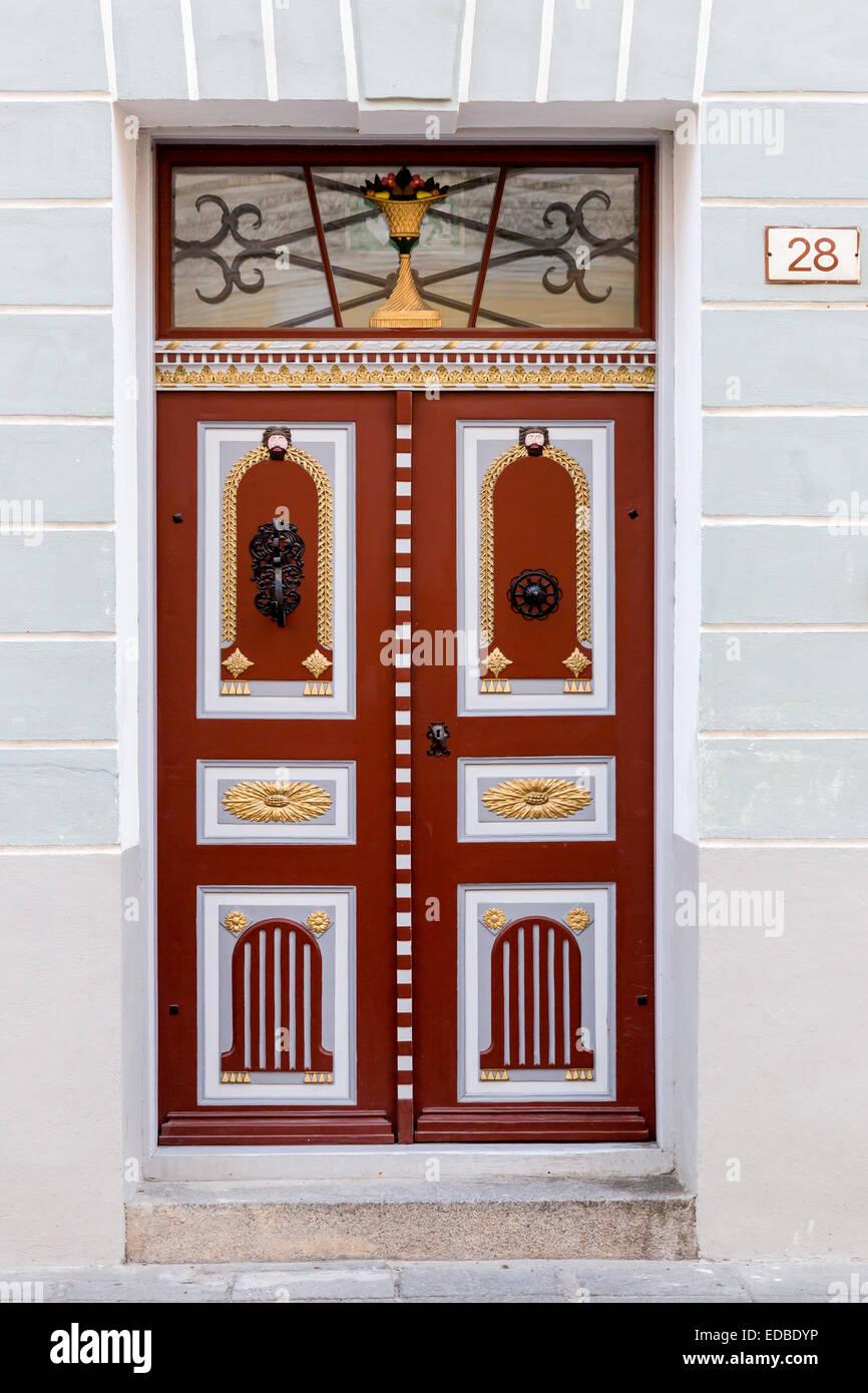 Front door, wooden door, Toompea, Tallinn, Estonia - Stock Image