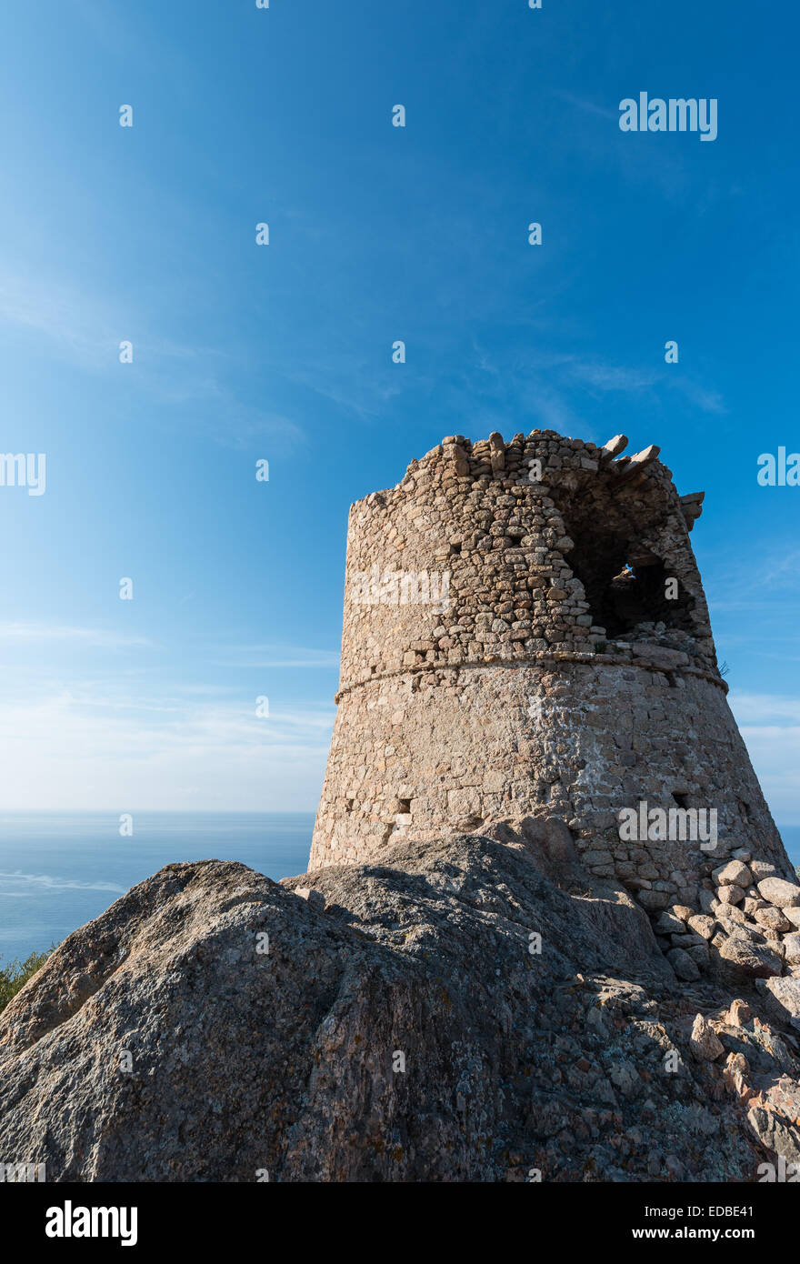 Half-ruined stone tower, Genoese tower, Corsica, France - Stock Image