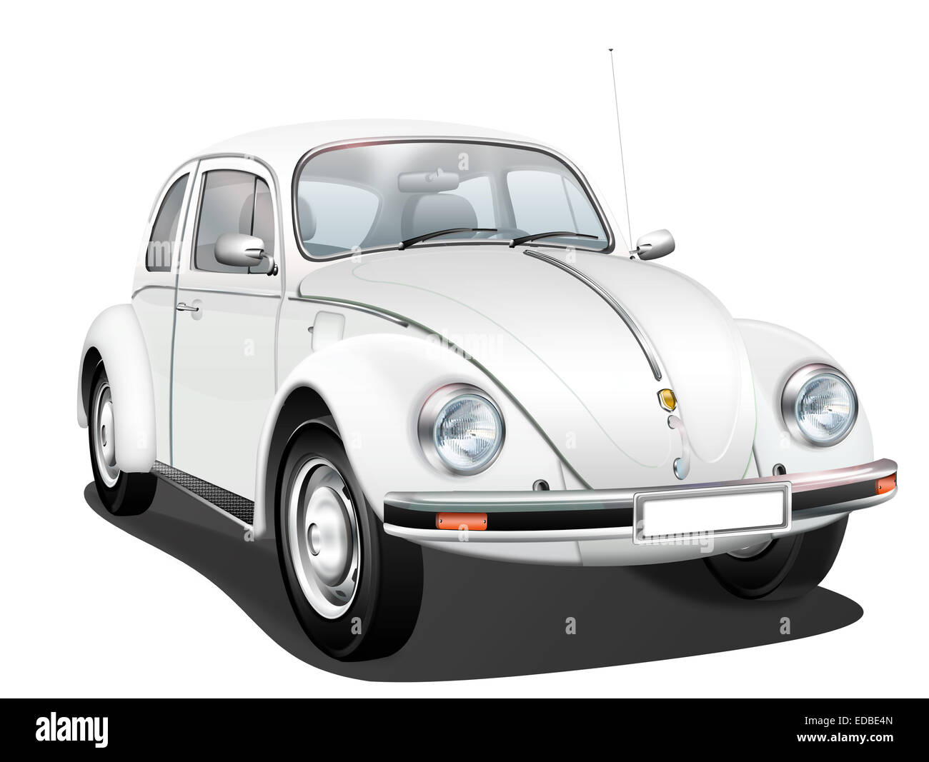 VW Beetle, German vintage, illustration - Stock Image