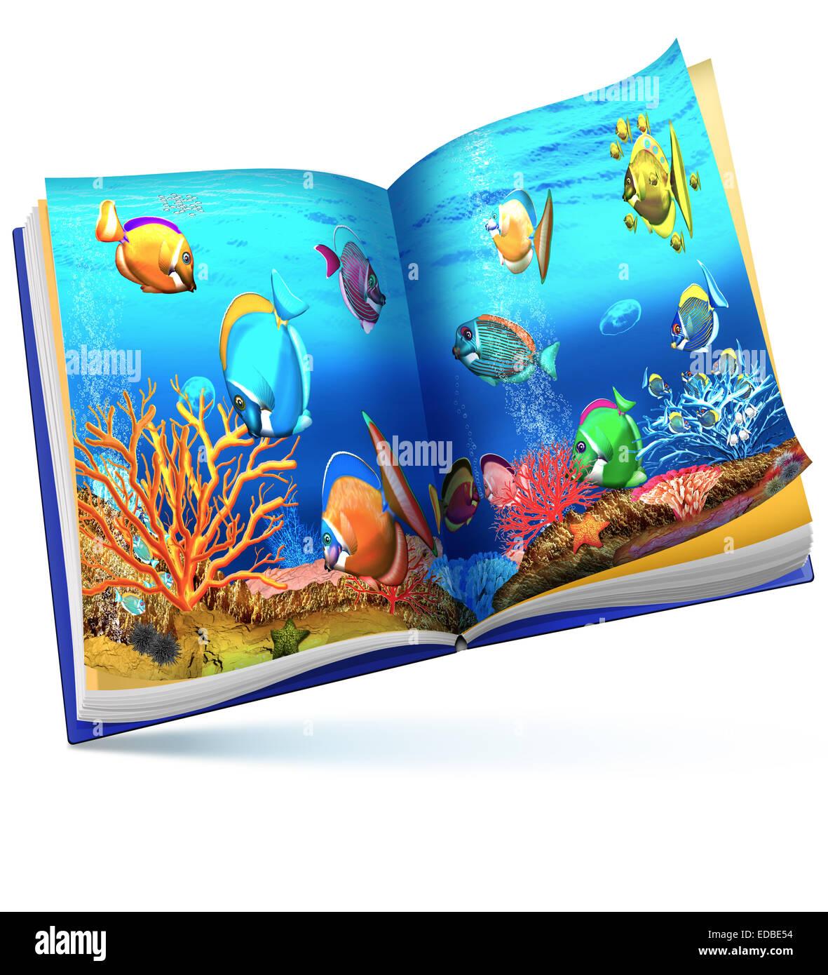 Coral reef, children's book illustration - Stock Image