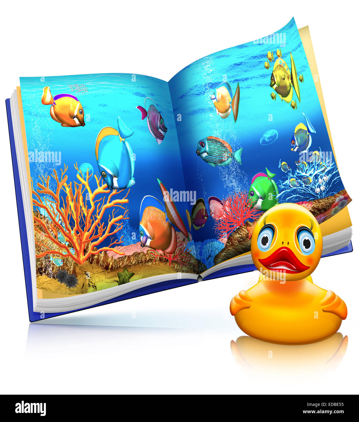 Coral reef, coral fish, children's book with a rubber duck, illustration - Stock Image