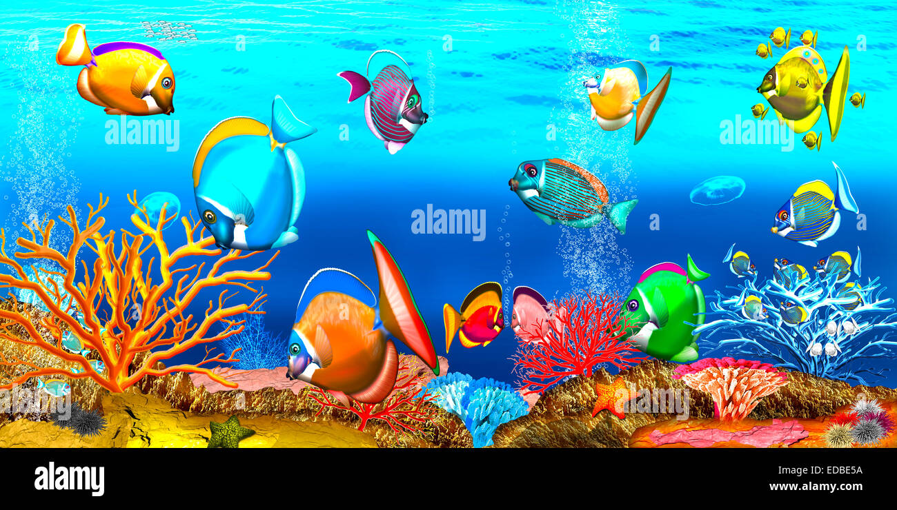 Coral reef, illustration, children's book - Stock Image