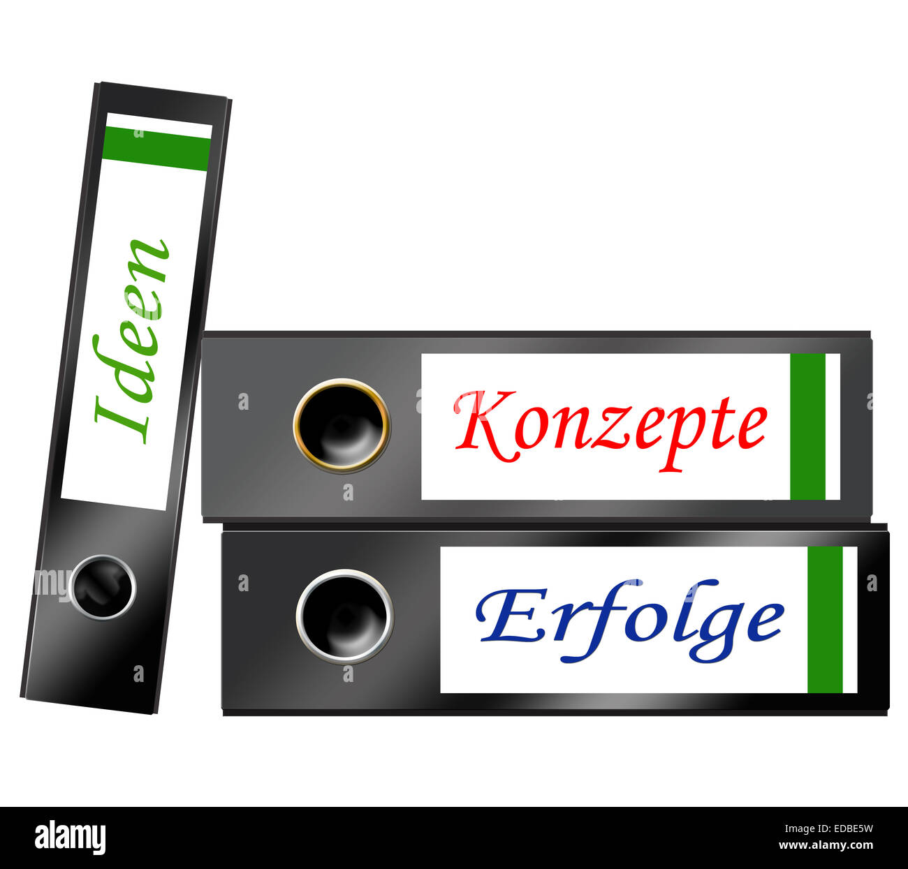 Three folders with labels 'Konzepte, Ideen, Erfolge', German for 'concepts', 'ideas', 'successes', - Stock Image
