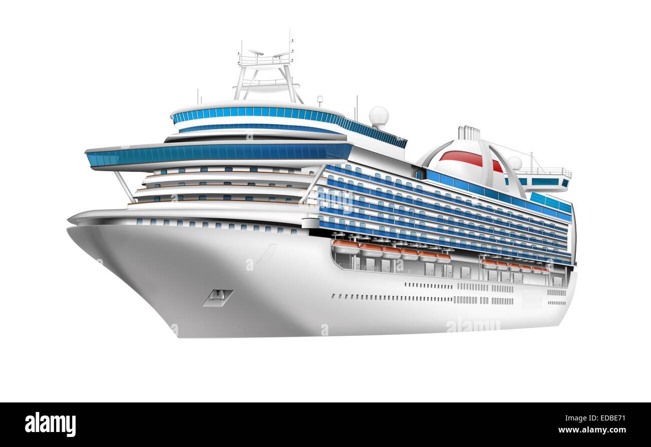 Cruise ship, luxury liner, illustration - Stock Image