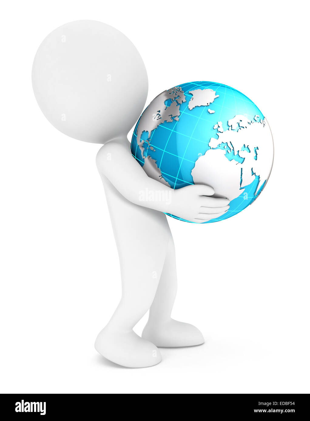 3d white people holding earth, isolated white background, 3d image Stock Photo