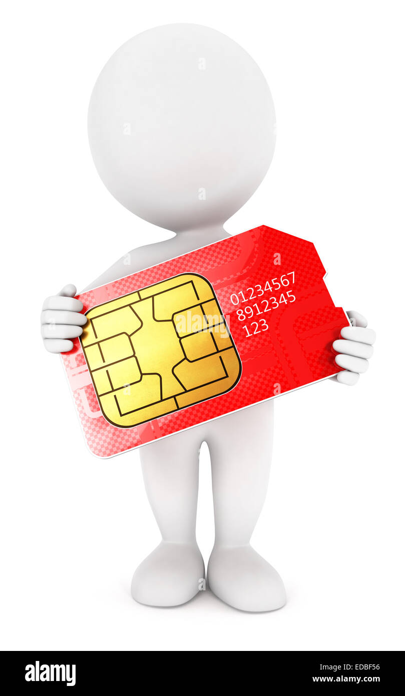 3d white people sim card, isolated white background, 3d image Stock Photo